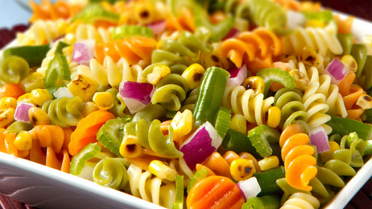 Colorfull pasta salad in light dressing